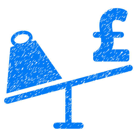 Market Pound Price Swing grainy textured icon for overlay watermark stamps. Flat symbol with scratched texture. Dotted vector blue ink rubber seal stamp with grunge design on a white background. Illustration