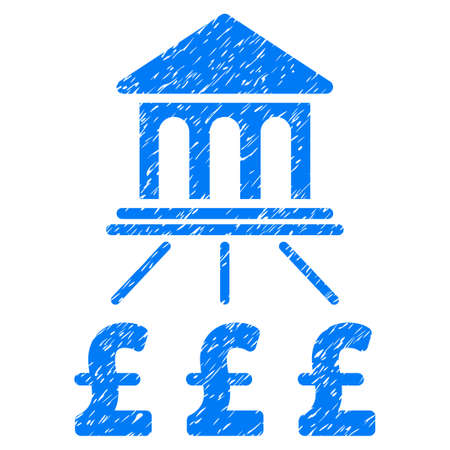 Pound Bank Scheme grainy textured icon for overlay watermark stamps. Flat symbol with scratched texture. Dotted vector blue ink rubber seal stamp with grunge design on a white background.