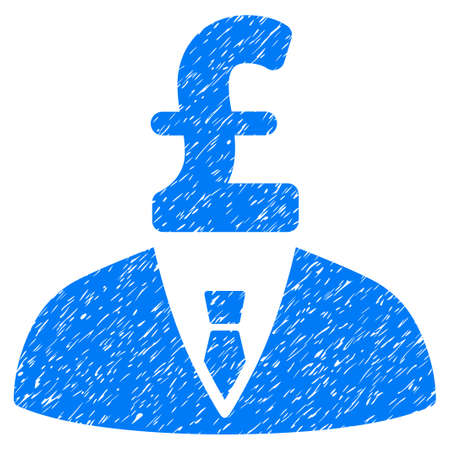 capitalist: Pound Businessman grainy textured icon for overlay watermark stamps. Flat symbol with scratched texture. Dotted vector blue ink rubber seal stamp with grunge design on a white background.