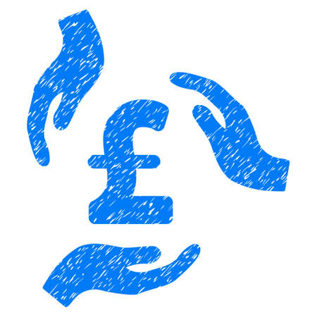 Pound Care Hands grainy textured icon for overlay watermark stamps. Flat symbol with dust texture. Dotted vector blue ink rubber seal stamp with grunge design on a white background.