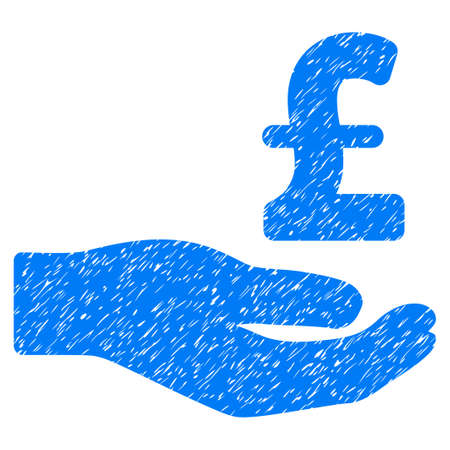 Pound Donation Hand grainy textured icon for overlay watermark stamps. Flat symbol with scratched texture. Dotted vector blue ink rubber seal stamp with grunge design on a white background.