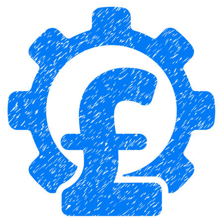Pound Financial Industry grainy textured icon for overlay watermark stamps. Flat symbol with dust texture. Dotted vector blue ink rubber seal stamp with grunge design on a white background.