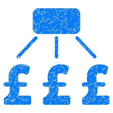 Pound Financial Scheme grainy textured icon for overlay watermark stamps. Flat symbol with unclean texture. Dotted vector blue ink rubber seal stamp with grunge design on a white background.