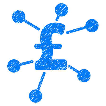 bank branch: Pound Links grainy textured icon for overlay watermark stamps. Flat symbol with unclean texture. Dotted vector blue ink rubber seal stamp with grunge design on a white background. Illustration