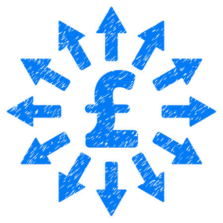 Pound Money Distribution grainy textured icon for overlay watermark stamps. Flat symbol with unclean texture. Dotted vector blue ink rubber seal stamp with grunge design on a white background.