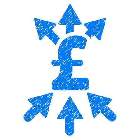 Pound Payment Broker grainy textured icon for overlay watermark stamps. Flat symbol with dust texture. Dotted vector blue ink rubber seal stamp with grunge design on a white background. Illustration