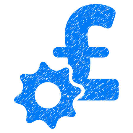 Pound Payment Options grainy textured icon for overlay watermark stamps. Flat symbol with dust texture. Dotted vector blue ink rubber seal stamp with grunge design on a white background. Illustration