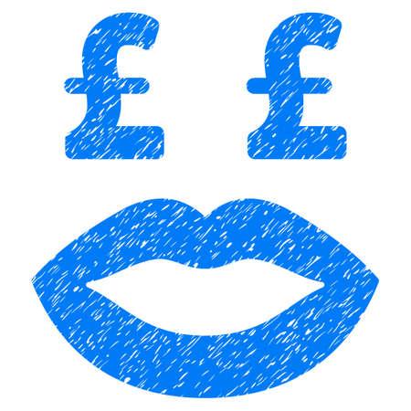 Pond Prostitutie Smiley korrelige textuur pictogram voor overlay watermerk stempels. Vlakke symbool met onreine textuur. Gestippelde vector blauwe zegel van de inkt rubberverbinding met grungeontwerp op een witte achtergrond.