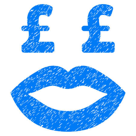 Pound Prostitution Smiley grainy textured icon for overlay watermark stamps. Flat symbol with unclean texture. Dotted vector blue ink rubber seal stamp with grunge design on a white background. Illustration