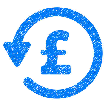 Pound Rebate grainy textured icon for overlay watermark stamps. Flat symbol with dust texture. Dotted vector blue ink rubber seal stamp with grunge design on a white background. Illustration