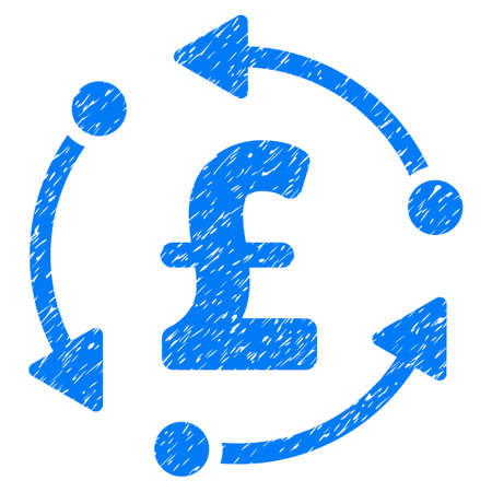 Pound Rotation grainy textured icon for overlay watermark stamps. Flat symbol with scratched texture. Dotted vector blue ink rubber seal stamp with grunge design on a white background.