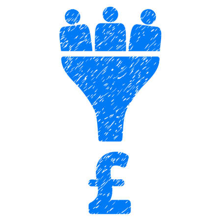 Pound Sales Funnel grainy textured icon for overlay watermark stamps. Flat symbol with dust texture. Dotted vector blue ink rubber seal stamp with grunge design on a white background.