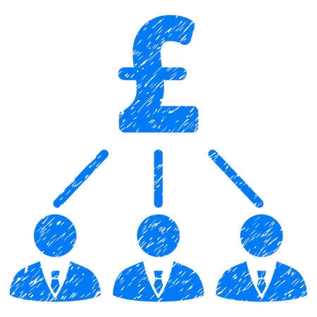 command structure: Pound Shareholders grainy textured icon for overlay watermark stamps. Flat symbol with dust texture. Dotted vector blue ink rubber seal stamp with grunge design on a white background. Illustration