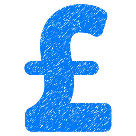 Pound Sterling grainy textured icon for overlay watermark stamps. Flat symbol with dirty texture. Dotted vector blue ink rubber seal stamp with grunge design on a white background.