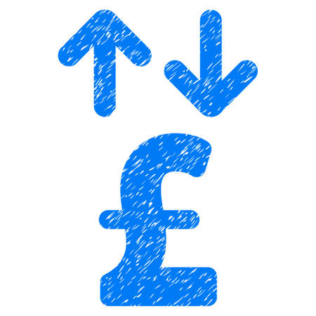 transactions: Pound Transactions grainy textured icon for overlay watermark stamps. Flat symbol with scratched texture. Dotted vector blue ink rubber seal stamp with grunge design on a white background.