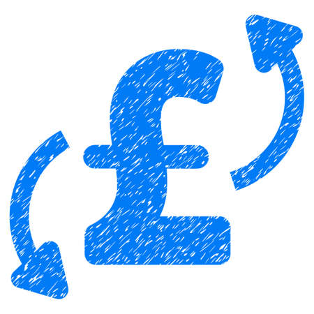 Pound Transfers grainy textured icon for overlay watermark stamps. Flat symbol with unclean texture. Dotted vector blue ink rubber seal stamp with grunge design on a white background.
