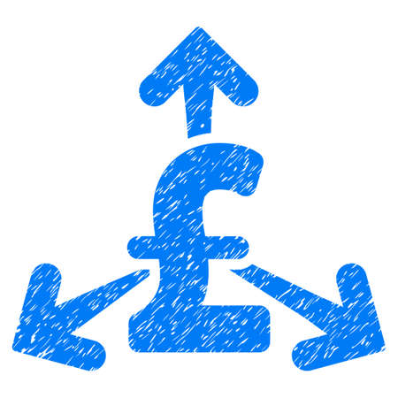 spend: Spend Pound Money grainy textured icon for overlay watermark stamps. Flat symbol with dirty texture. Dotted vector blue ink rubber seal stamp with grunge design on a white background. Illustration