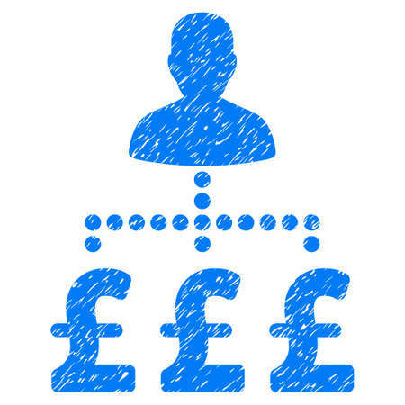 british money: User Pound Payments grainy textured icon for overlay watermark stamps. Flat symbol with dirty texture. Dotted vector blue ink rubber seal stamp with grunge design on a white background.