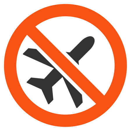 terminate: Forbidden Ariplanes raster icon. Style is flat graphic symbol.