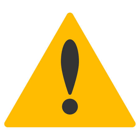 Warning raster icon. Style is flat graphic symbol.