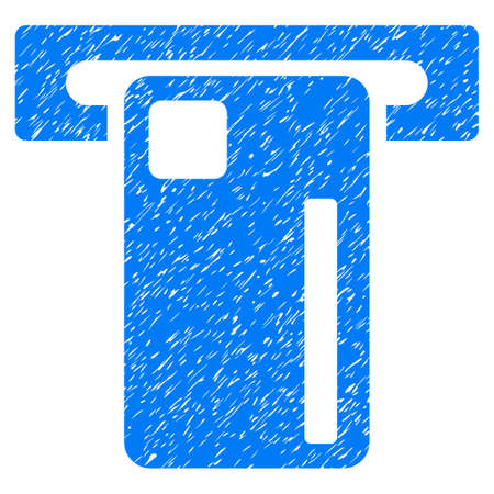 withdraw: ATM Machine grainy textured icon for overlay watermark stamps. Flat symbol with dust texture. Dotted vector blue ink rubber seal stamp with grunge design on a white background.
