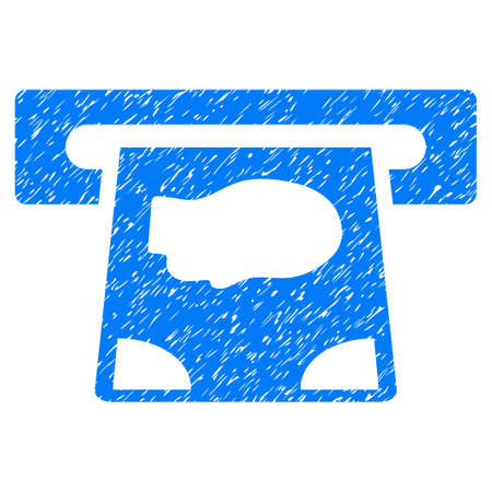 automatic transaction machine: ATM Payment grainy textured icon for overlay watermark stamps. Flat symbol with dust texture. Dotted vector blue ink rubber seal stamp with grunge design on a white background.