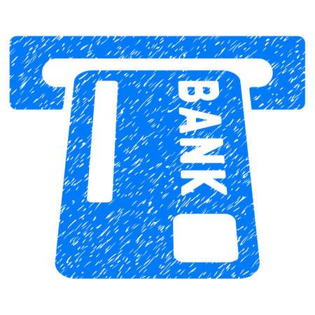 withdraw: ATM Terminal grainy textured icon for overlay watermark stamps. Flat symbol with dust texture. Dotted vector blue ink rubber seal stamp with grunge design on a white background. Illustration