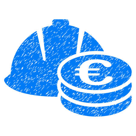 Euro Coins And Helmet grainy textured icon for overlay watermark stamps. Flat symbol with scratched texture. Dotted vector blue ink rubber seal stamp with grunge design on a white background.