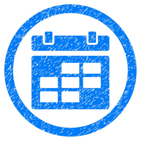 Rounded Calendar rubber seal stamp watermark. Icon symbol inside circle with grunge design and unclean texture. Unclean glyph blue sticker.