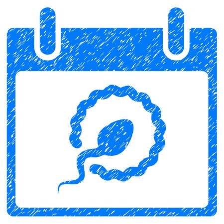 Calendario de inseminación de espermatozoides Icono de textura granulada para sellos de marca de agua de superposición. Símbolo plano con textura sucia. Sello de sello de goma con sello de goteo con diseño grunge en un fondo blanco. Foto de archivo