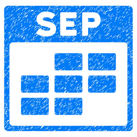 September Calendar Grid grainy textured icon for overlay watermark stamps. Flat symbol with dirty texture. Dotted glyph blue ink rubber seal stamp with grunge design on a white background. Stock Photo