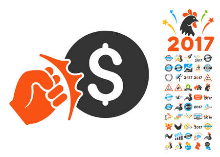Crime Racket pictograph with bonus 2017 new year images. Vector illustration style is flat iconic symbols,modern colors.