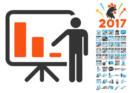 presentaion: Crisis Reporting Person pictograph with bonus 2017 new year symbols. Vector illustration style is flat iconic symbols,modern colors. Illustration