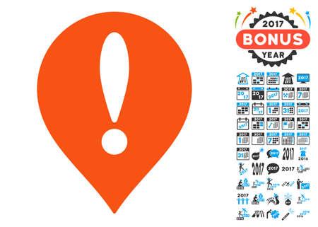 Pittogramma di Danger Map Pointer con raccolta di pittogrammi bonus 2017 di nuovo anno. Lo stile dell'illustrazione di vettore è simboli iconici piani, colori moderni.