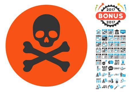 Death icon with bonus 2017 new year symbols. Vector illustration style is flat iconic symbols,modern colors. Illustration