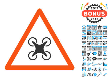 Airdrone Warning pictograph with bonus 2017 new year design elements. Vector illustration style is flat iconic symbols,modern colors.