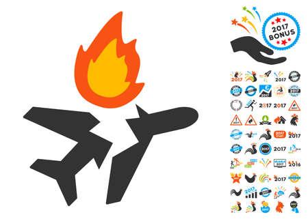 crashed: Airplane Crash pictograph with bonus 2017 new year clip art. Vector illustration style is flat iconic symbols,modern colors. Illustration