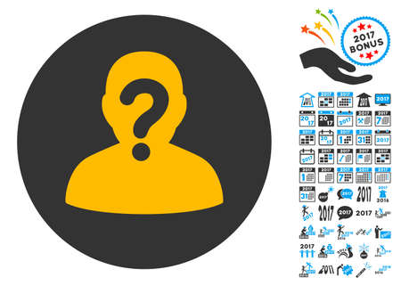 Anonymous icon with bonus 2017 new year pictograph collection. Vector illustration style is flat iconic symbols,modern colors. Illustration