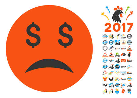 Bankrupt Smiley icon with bonus 2017 new year pictograms. Vector illustration style is flat iconic symbols,modern colors.