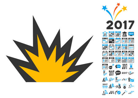 crunches: Boom Explosion pictograph with bonus 2017 new year images. Vector illustration style is flat iconic symbols,modern colors.