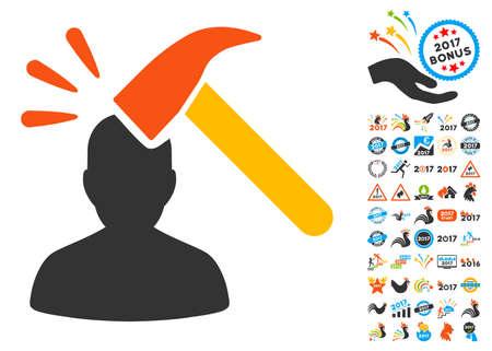 bonus: Head Shock pictograph with bonus 2017 new year icon set. Vector illustration style is flat iconic symbols,modern colors.