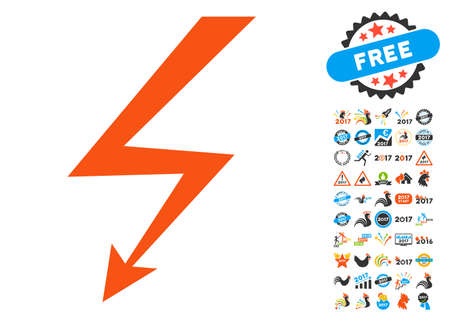 Lightning Strike pictograph with bonus 2017 new year images. Vector illustration style is flat iconic symbols,modern colors.