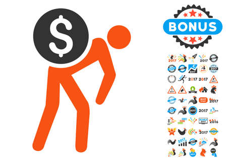 capital gains: Money Thief icon with bonus 2017 new year pictograph collection. Vector illustration style is flat iconic symbols,modern colors.