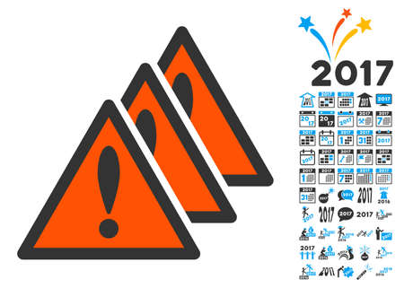 Multiple Problems pictograph with bonus 2017 new year pictograph collection. Vector illustration style is flat iconic symbols,modern colors.