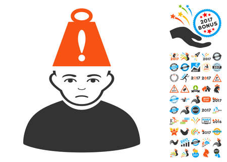 Person Heavy Stress icon with bonus 2017 new year pictograms. Vector illustration style is flat iconic symbols,modern colors. Illustration