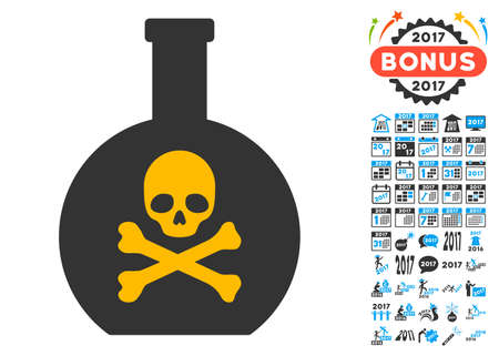 chemical hazard: Poison pictograph with bonus 2017 new year graphic icons. Vector illustration style is flat iconic symbols,modern colors.