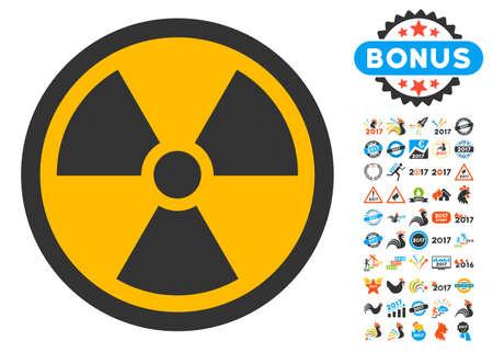 Icône radioactive avec collection de pictogrammes bonus 2017 nouvel an. Le style d'illustration vectorielle est le plat emblématiques, couleurs modernes. Vecteurs