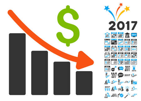 Recession Trend icon with bonus 2017 new year graphic icons. Vector illustration style is flat iconic symbols,modern colors.