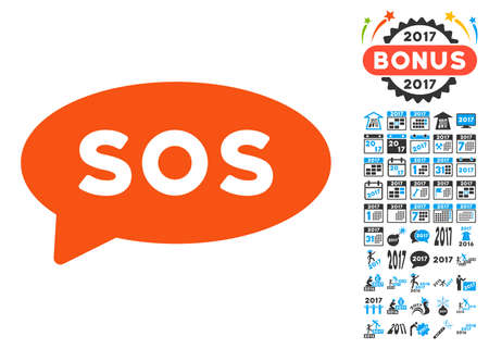 sos message balloon icon with bonus 2017 new year clip art vector illustration style is