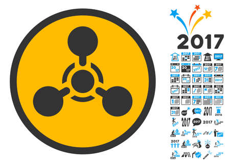 chemical hazard: Wmd Nerve Agent Chemical Warfare icon with bonus 2017 new year clip art. Vector illustration style is flat iconic symbols,modern colors. Illustration